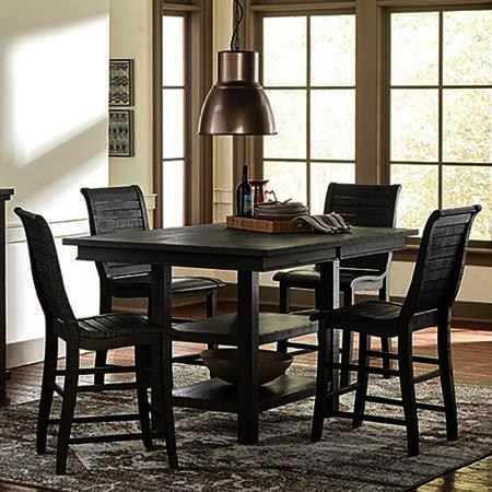 Progressive Furniture Willow 5 Piece Rectangular Counter Table Set w/Wood Chairs