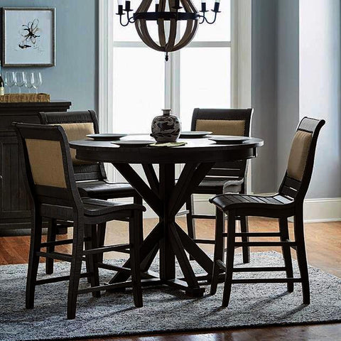 Progressive Furniture Willow 5 Piece Round Counter Table Set w/Upholstered Chairs