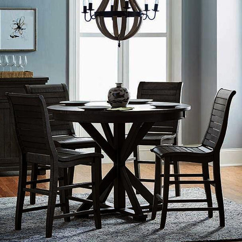 Progressive Furniture Willow 5 Piece Round Counter Table Set w/Wood Chairs