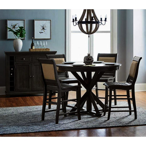 Progressive Furniture Willow 6 Piece Round Counter Table Set w/Upholstered Chairs