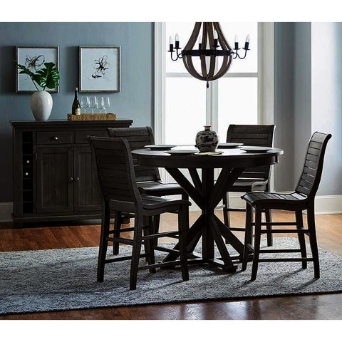 Progressive Furniture Willow 6 Piece Round Counter Table Set w/Wood Chairs