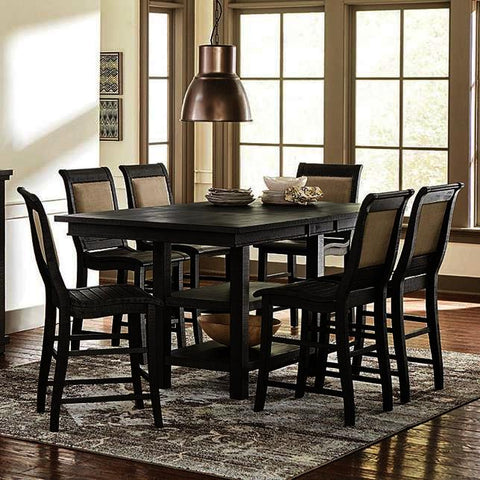Progressive Furniture Willow 7 Piece Rectangular Counter Table Set w/Upholstered Chairs