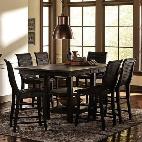 Progressive Furniture Willow 7 Piece Rectangular Counter Table Set w/Wood Chairs