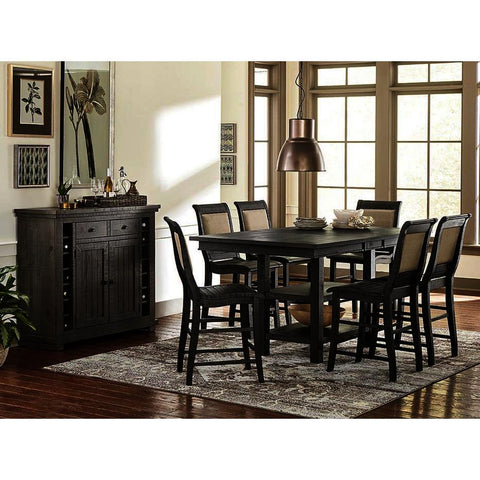 Progressive Furniture Willow 8 Piece Rectangular Counter Table Set w/Upholstered Chairs