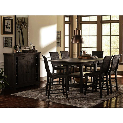 Progressive Furniture Willow 8 Piece Rectangular Counter Table Set w/Wood Chairs