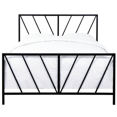 Pulaski All-In-One Black High Gloss Chevron Patterned Queen Metal Bed