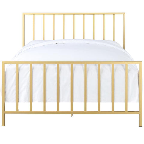 Pulaski All-In-One Slat Style Brushed Gold Queen Metal Bed