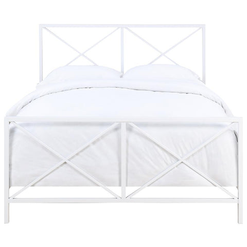 Pulaski All-In-One White High Gloss X-Patterned Queen Metal Bed