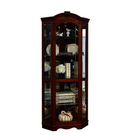 Pulaski Arched Medallion Cherry Mirrored Corner Curio