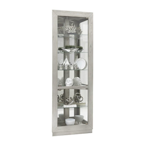 Pulaski Asymmetrical Two Door Corner Curio Cabinet in Soft Grey