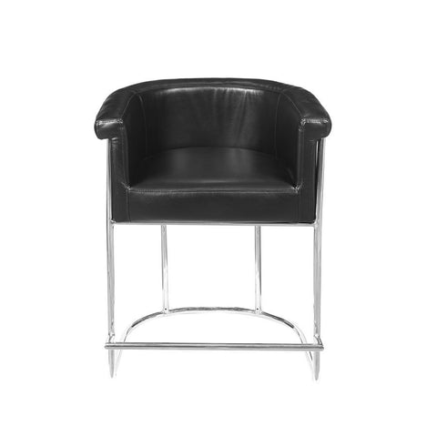 Pulaski Barrel-Style Modern Upholstered Barstool in Black