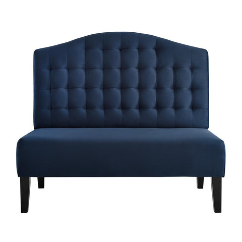 Pulaski Biscuit Tufted Entryway Bench in Navy Blue Velvet