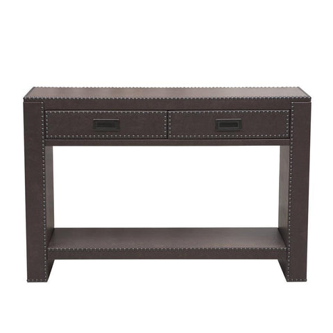 Pulaski Brown Faux Leather Drawer Console w/Nail Head Trim in Brown