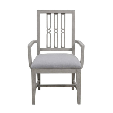 Pulaski Casual Upholstered Dining Arm Chair in Grey Birch