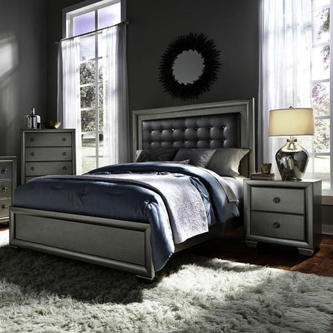 Pulaski Celestial 3 Piece Upholstered Platform Bedroom Set w/Chest