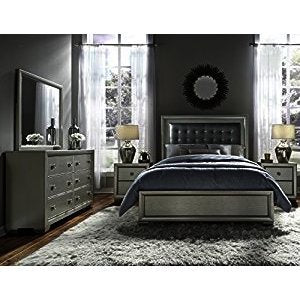 Pulaski Celestial 4 Piece Upholstered Platform Bedroom Set