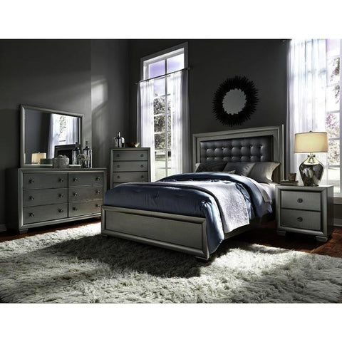 Pulaski Celestial 4 Piece Upholstered Platform Bedroom Set w/Dresser