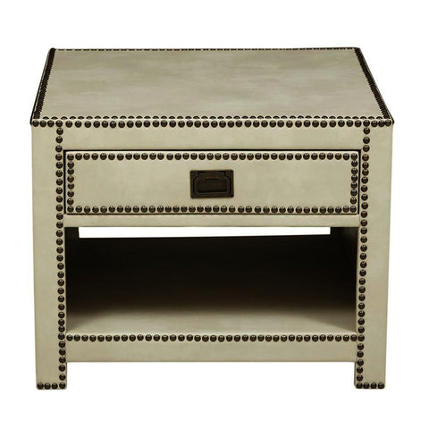 Pulaski Chester Ivory Faux Leather Wrapped Trunk Style End Table