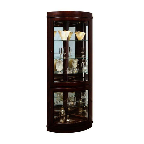 Pulaski Chocolate Cherry Curved Corner Curio