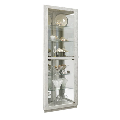 Pulaski Dual Door 5 Shelf Corner Curio Cabinet in Antique White