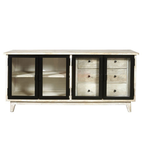 Pulaski Eclectic 3 Drawer Modern Media Console in Driftwood Brown