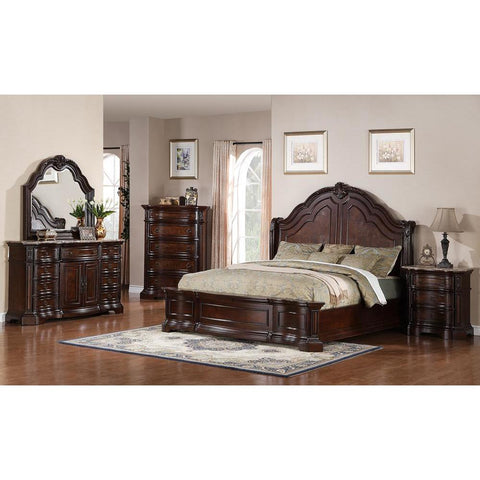 Pulaski Edington 5 Piece Queen Bedroom Set in Brown
