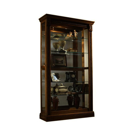 Pulaski Estate Oak Mirrored Two Way Sliding Door Curio