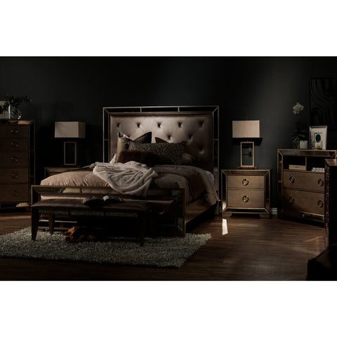 Pulaski Farrah 6 Piece Upholstered Platform Bedroom Set in Metallic
