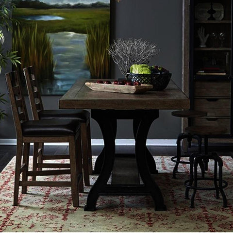 Pulaski Flatbush 5 Piece Plank Double Pedestal Gathering Table Set w/Stools