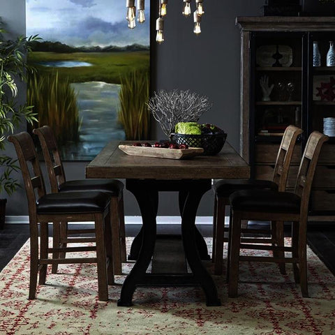 Pulaski Flatbush 5 Piece Plank Double Pedestal Gathering Table Set