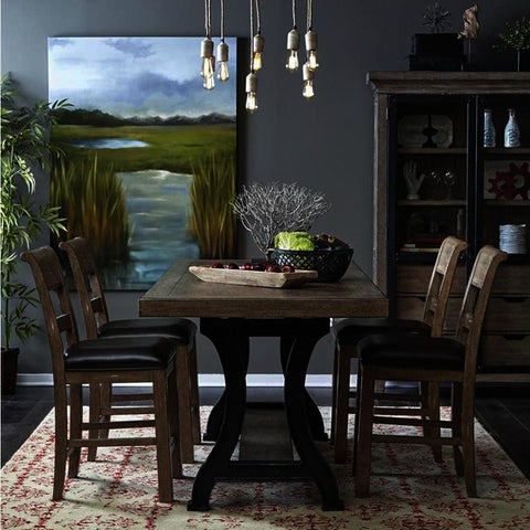 Pulaski Flatbush 6 Piece Plank Double Pedestal Gathering Table Set