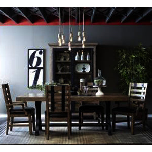 Pulaski Flatbush 7 Piece Cast Metal Pedestal Dining Room Set w/Strap Chairs