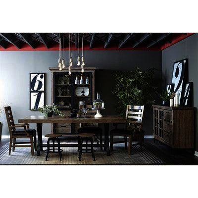 Pulaski Flatbush 9 Piece Cast Metal Pedestal Dining Room Set w/Stools
