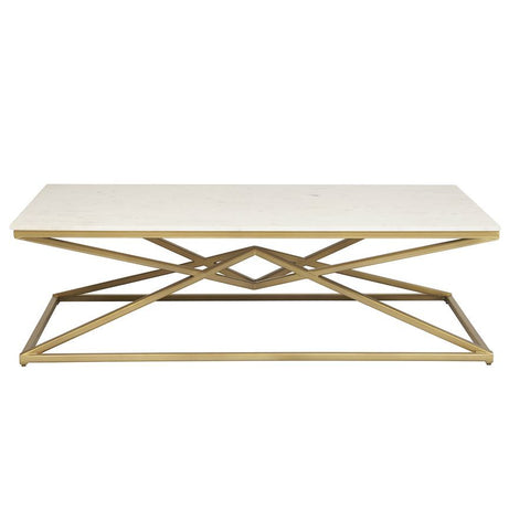Pulaski Geo Pyramid Stone & Metal Cocktail Table in Gold & White