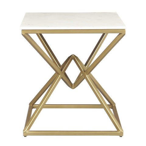 Pulaski Geo Pyramid Stone & Metal End Table - Gold & White