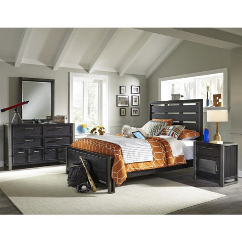 Pulaski Graphite Youth 4 Piece Bedroom Set in Brown