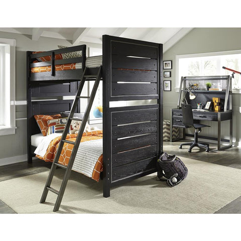 Pulaski Graphite Youth Bunk Bed w/Ladder in Black