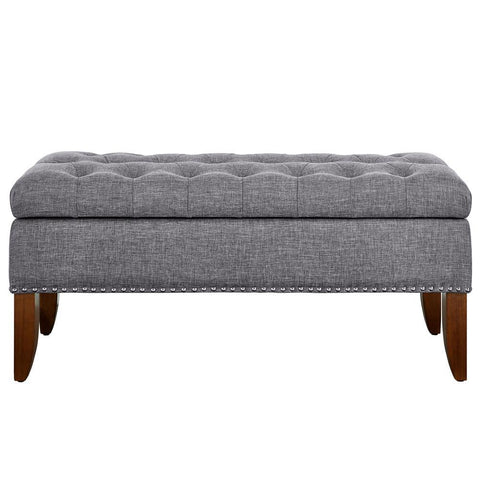 Pulaski Grey Hinged Top Button Tufted Storage Bed Bench