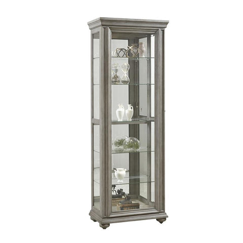 Pulaski Grey Sliding Door Display Cabinet