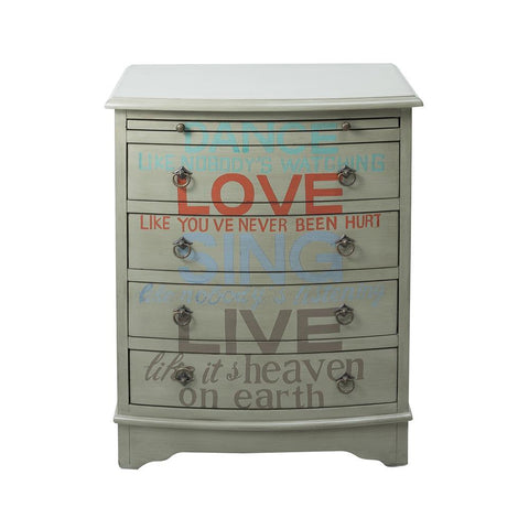 Pulaski Grey Words of Wisdom Drawer Chest