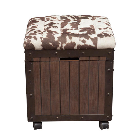 Pulaski Hair-on-Hyde Cushioned Top Accent Storage Ottoman in Brown