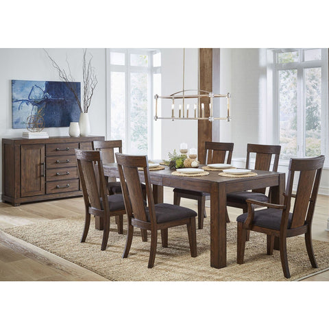 Pulaski Henna 8 Piece Rectangular Leg Dining Room Set in Brown