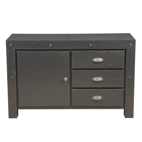 Pulaski Industrial Style Three Drawer Accent Storage Chest in Distressed Black
