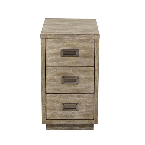 Pulaski Industrial Styled Acacia Wood Three Drawer Side Table in Tan