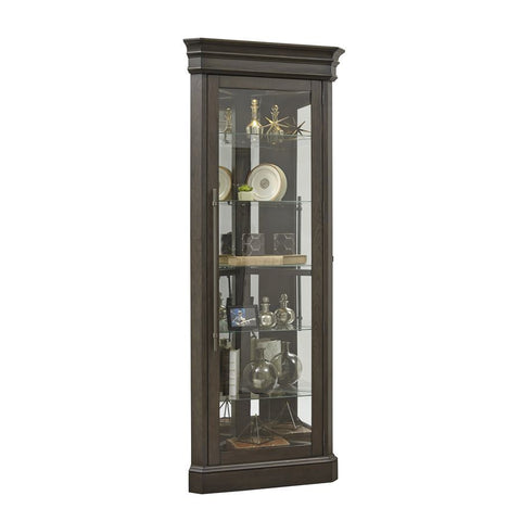 Pulaski Lighted 5 Shelf Corner Curio Cabinet in Dark Oak Brown