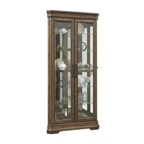 Pulaski Lighted 5 Shelf Double Door Corner Curio Cabinet in Oak Brown
