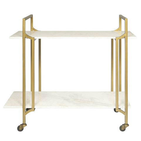 Pulaski Marble Shelf Rolling Bar Cart in Matte Gold
