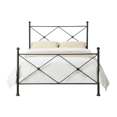 Pulaski Metal King Poster Bed w/X-Accents in Iron Black