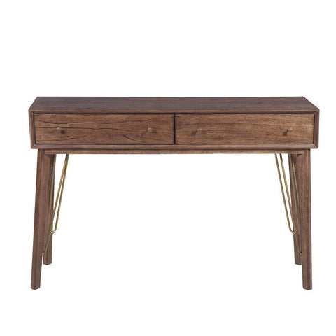 Pulaski Mid-Century Modern Distressed Walnut Two Drawer Accent Storage Console Table