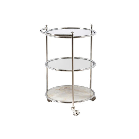 Pulaski Mixer Round Serving Cart in Silver